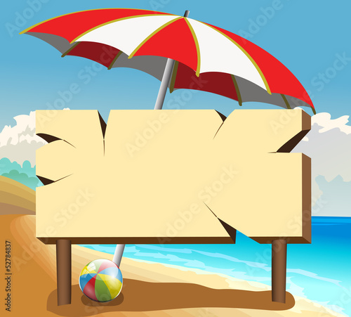 poster board with ball and beach umbrella