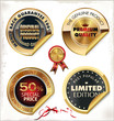 Set of golden PREMIUM quality labels
