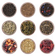 Assortment of dry tea in ceramic bowls isolated on white