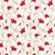 Seamless pattern with red gladiolus flowers. Vector illustration