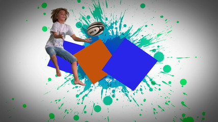 Montage of children jumping and playing in slow motion