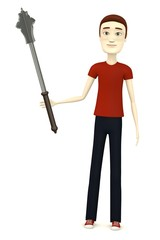 3d render of cartoon character with mace
