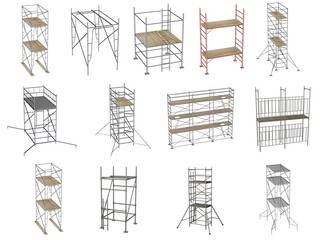 collection of 3d renders - scaffolding