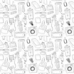 Bathroom objects seamless pattern