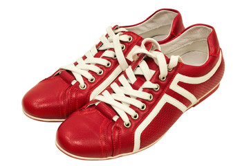 Red leather sneakers