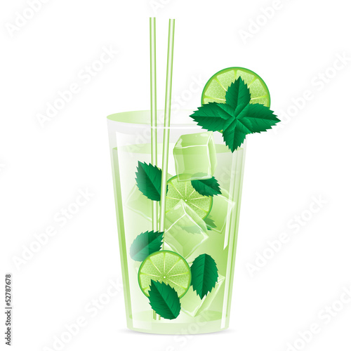 glass with ice and a drink garnished with lime and mint