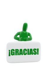 Green figure with gracias  symbol