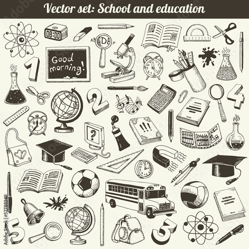 School And Education Doodles Vector