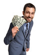 Successful businessman showing money