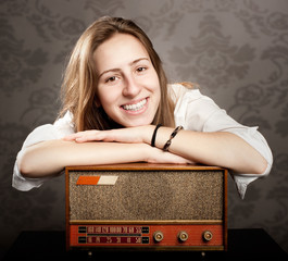 woman with old retro radio