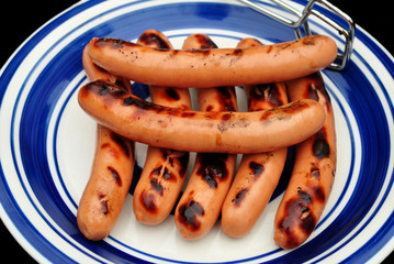 Whole Grilled Hotdogs on a White and Blue Plate