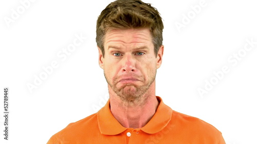 Man saying no with his head on white background