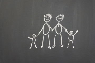 Blackboard with a child's drawing of a happy family