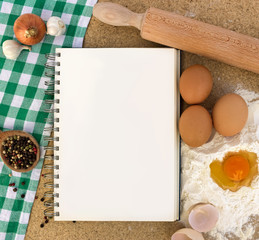 Recipe book with ingredients
