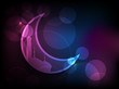 Crescent colorful moon on abstract background, concept for Musl