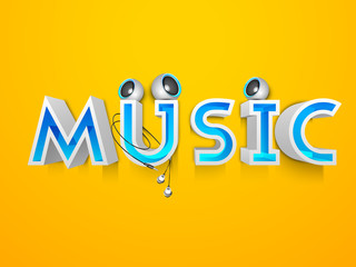 3D text Music with speakers on yellow background.