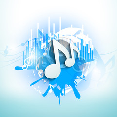 Musical notes on blue grungy background..