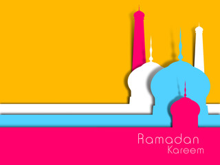 Abstract view of Mosque or Masjid on yellow background.