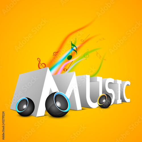 3D text Music with speakers on yellow background..
