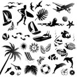 Set of vector icons of summer