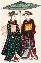 Japońskie młode kobiety w tradycyjnych ubrania geishas