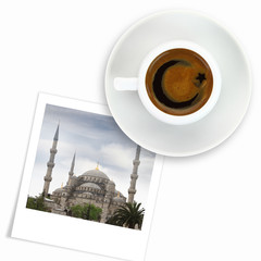 Turkish coffee and a photo of blue mosque