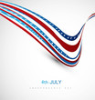 American flag fantastic wave on white background illustration