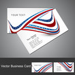 American Flag 4th july business card set wave white vector illus