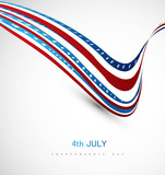 American flag fantastic wave on white background illustration