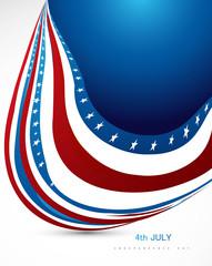 American flag wave on white background illustration