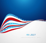 4th july american independence day with wave pattern vector