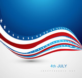 4th of July American Independence Day creative concept wave vect