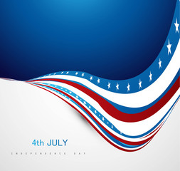 American Independence Day shiny wave vector illustration