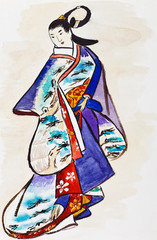 Japanese young woman in traditional dress