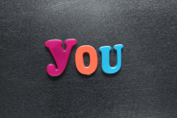word you spelled out using colored fridge magnets
