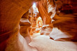 Leinwanddruck Bild - Antelope Canyon view with light rays