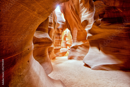 Antelope Canyon view with light rays - 52793419