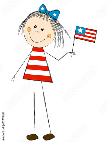 Girl with flag - concept of Independence day