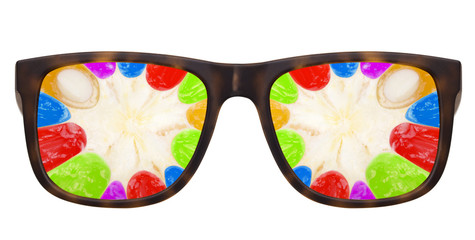 Trendy sunglasses with Abstract multicolored fruit