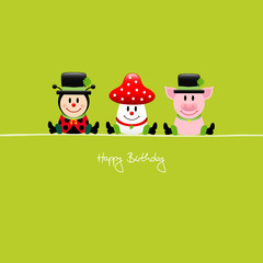 "Ladybeetle, Fly Agaric & Pig ""Happy Birthday"""