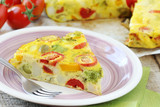 Sliced Spanish tortilla with potatoes and other vegetables