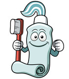 Vector illustration of Toothbrush and toothpaste cartoon