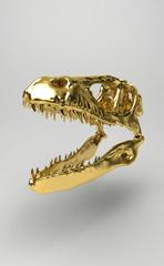 Dinosauro Preistoria teschio fossile oro