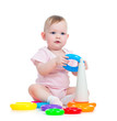 child playing toy isolated on white