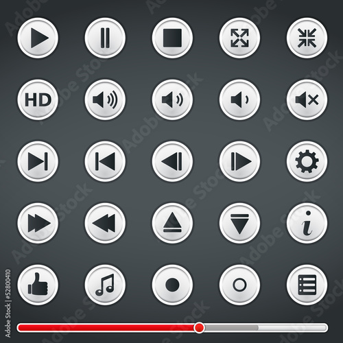Buttons for media player and red progress bar