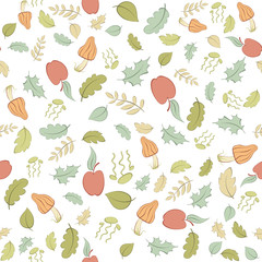 Seamless pattern with forest theme