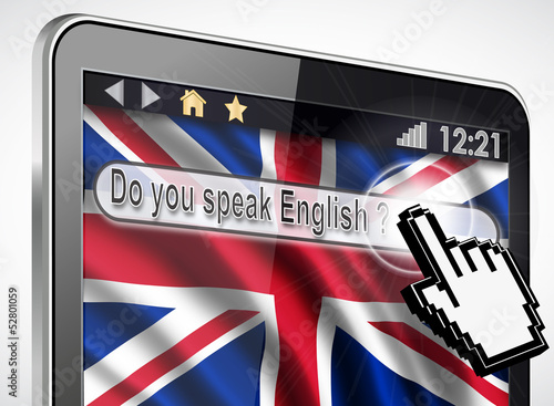 tablette et drapeau Anglais : do you speak English