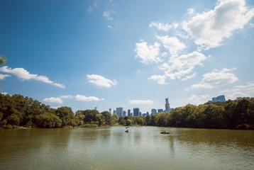NYC Central Park lake skyline reflection up