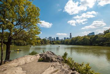 NYC Central Park lake landscape skyline wide