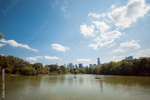 NYC Central Park lake skyline reflection up